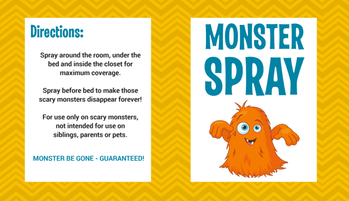 This free monster repellent label printable is perfect whether monsters are hiding in the closet or under the bed.