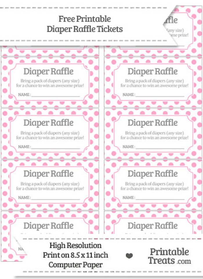 If you're throwing a baby shower for a little girl, snag these free diaper raffle tickets pdf with pink polka dots!