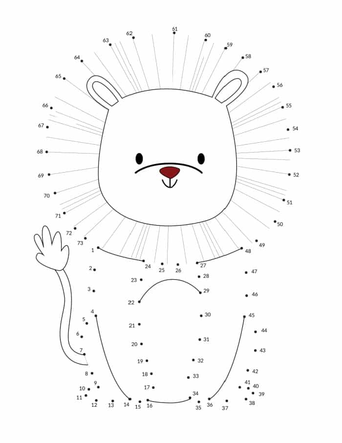 If you're looking for a preschool connect the dots printable try this ferocious lion.