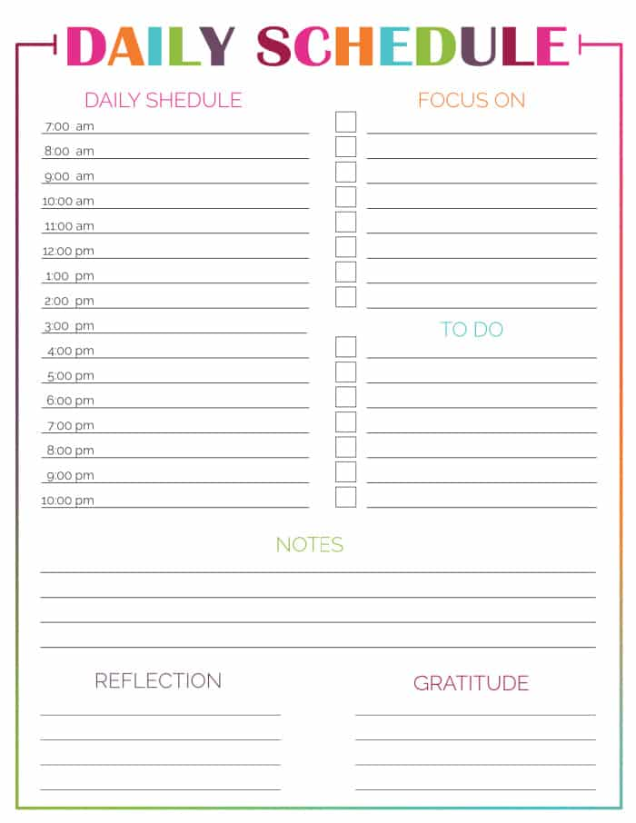 This printable daily hourly schedule template gives you the opportunity to rise above the little things with space for gratitude & reflections.