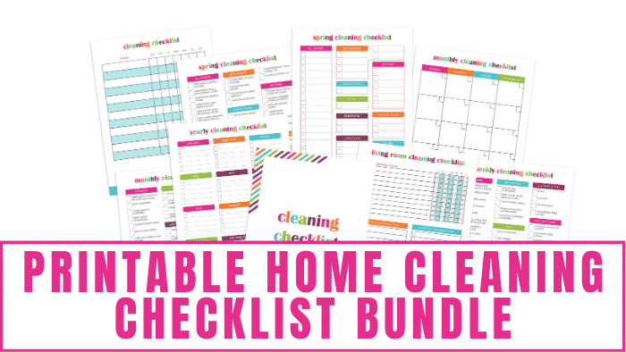Whether you are deep cleaning or spring cleaning this printable home cleaning checklist bundle will help you get organized and make sure nothing is missed.