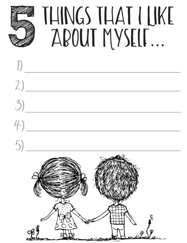 Download the printable self esteem worksheets, like 5 things I like about myself, to start boosting your kid's confidence now