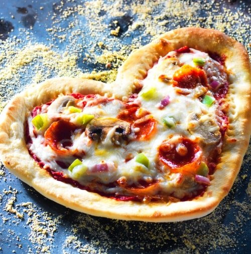 step-by-step heart shaped pizza recipe
