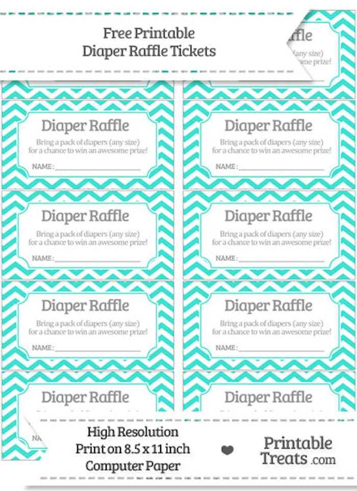 These free downloadable diaper raffle tickets are a modern and chic turquoise for that hip mom-to-be!