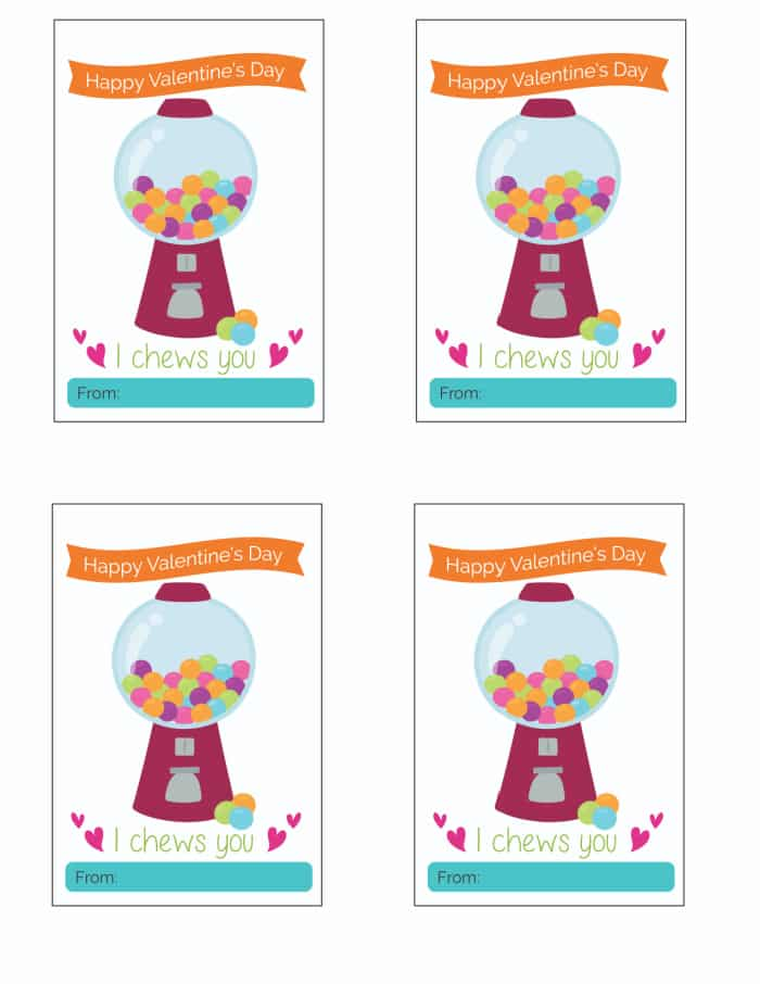 Valentines day cards printable free downloads like these cute ones make fun and frugal gifts for kids of all ages. Just pair it with a bag of gumballs.