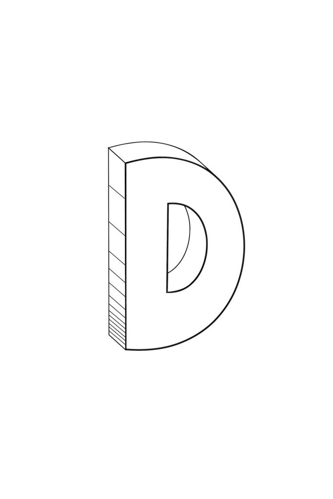 Free Printable Cool Bubble Letter D
