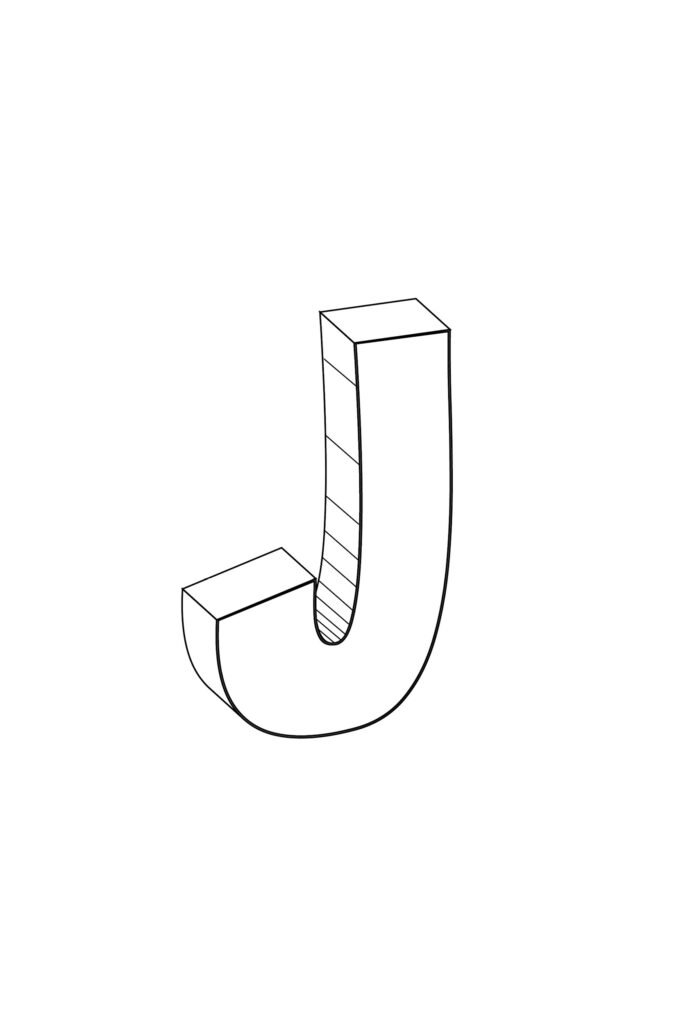 Free Printable Cool Bubble Letter J