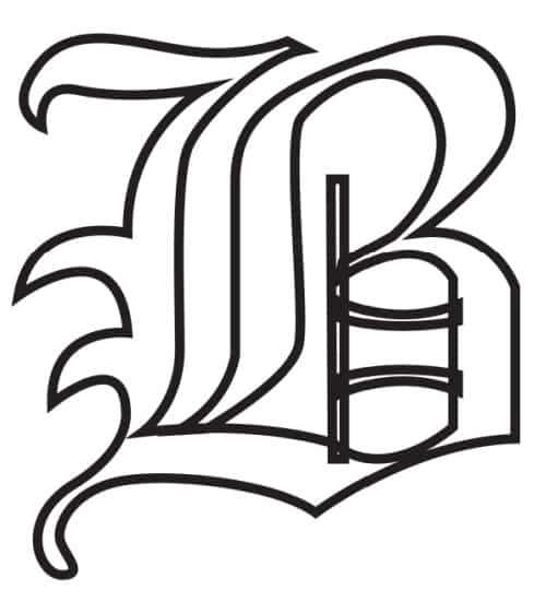 Free Printable Gothic Calligraphy Letters: Gothic Calligraphy Letter B