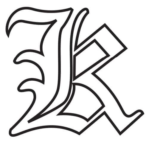 Free Printable Gothic Calligraphy Letters: Gothic Calligraphy Letter K