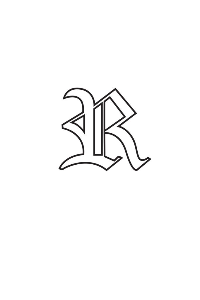 Free Printable Gothic Calligraphy Letters Gothic Calligraphy Letter R