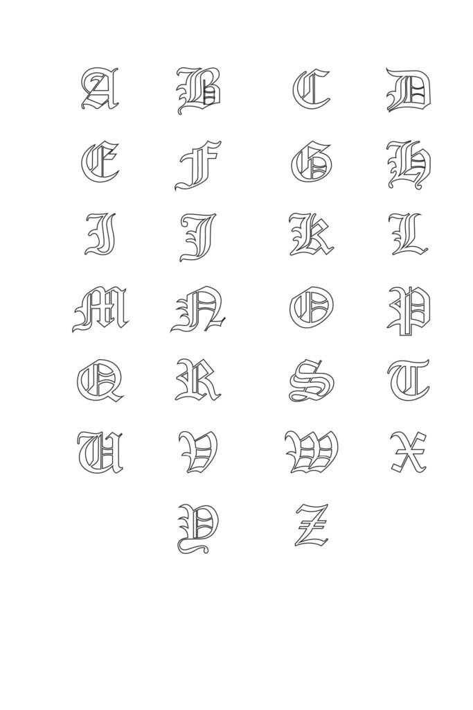 Free Printable Gothic Calligraphy Letters Set