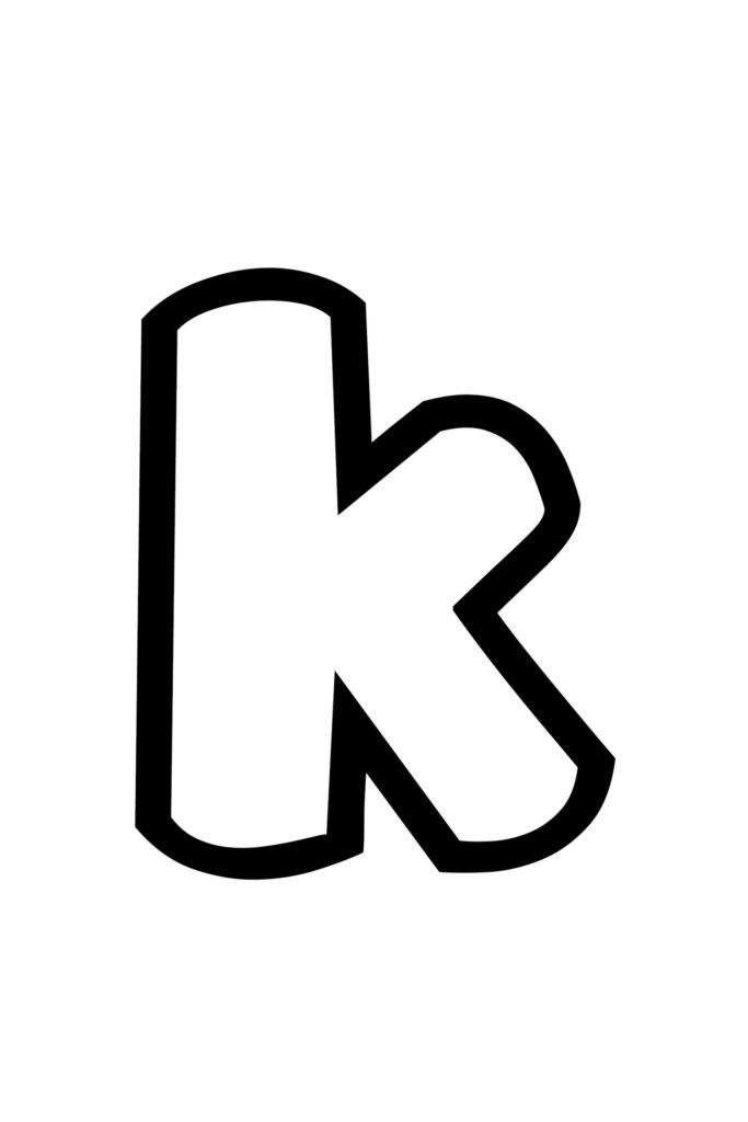 Free Printable Lowercase K Bubble Letter Stencil