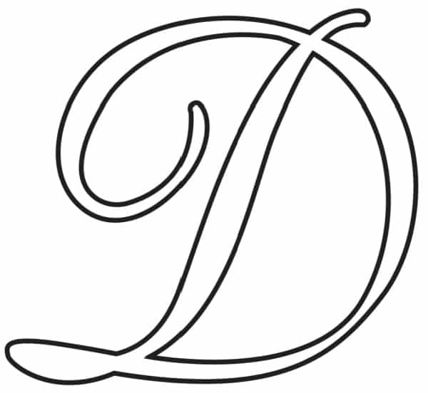 Free Printable Uppercase Calligraphy Letters Calligraphy Letter D