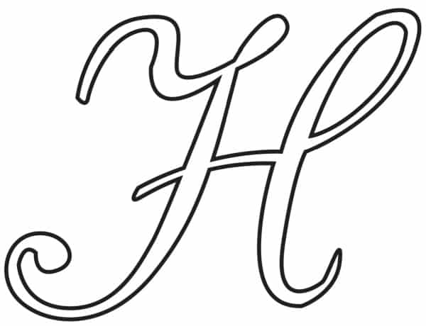 Free Printable Uppercase Calligraphy Letters Calligraphy Letter H