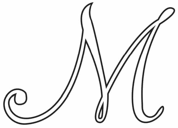 Free Printable Uppercase Calligraphy Letters Calligraphy Letter M