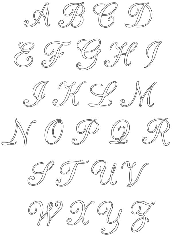 Free Printable Uppercase Calligraphy Letters Set