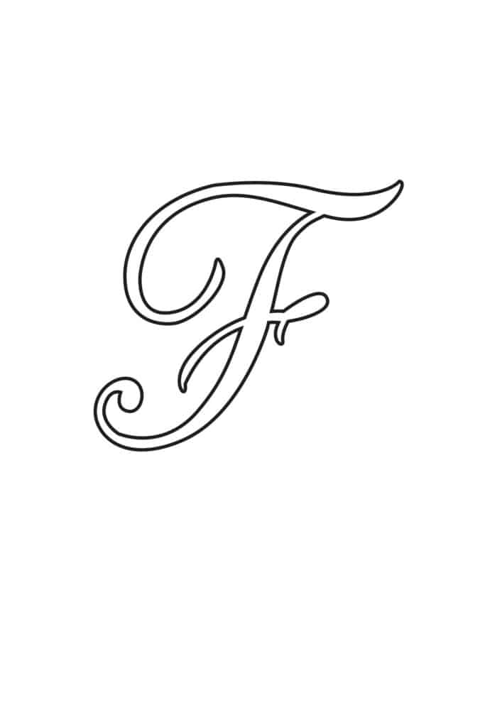 Free Printable Uppercase Calligraphy Letters Calligraphy Letter F
