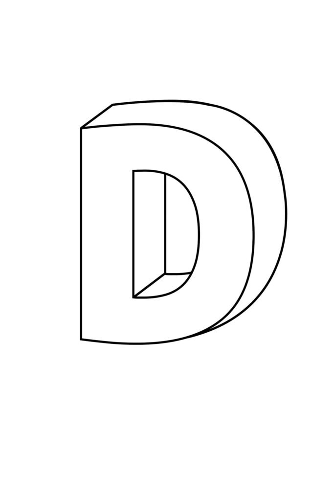 Printable 3D Bubble Letter D