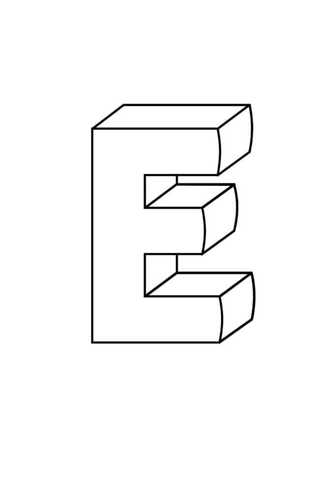 Printable 3D Bubble Letter E