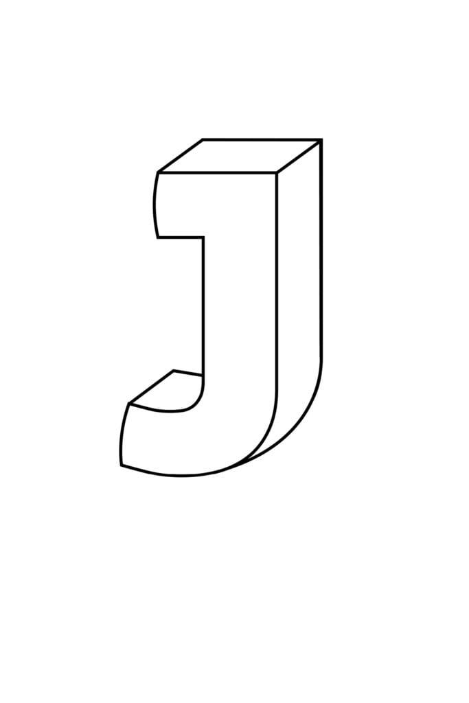 Printable 3D Bubble Letter J