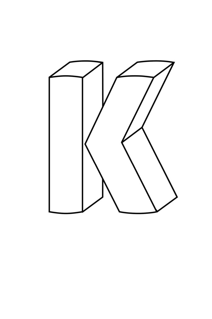 Printable 3D Bubble Letter K