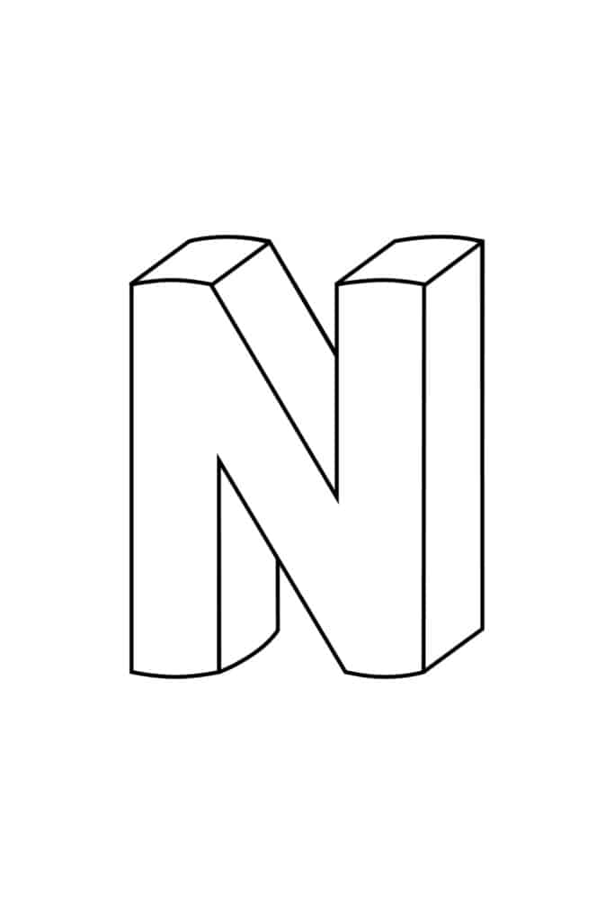 Printable 3D Bubble Letter N