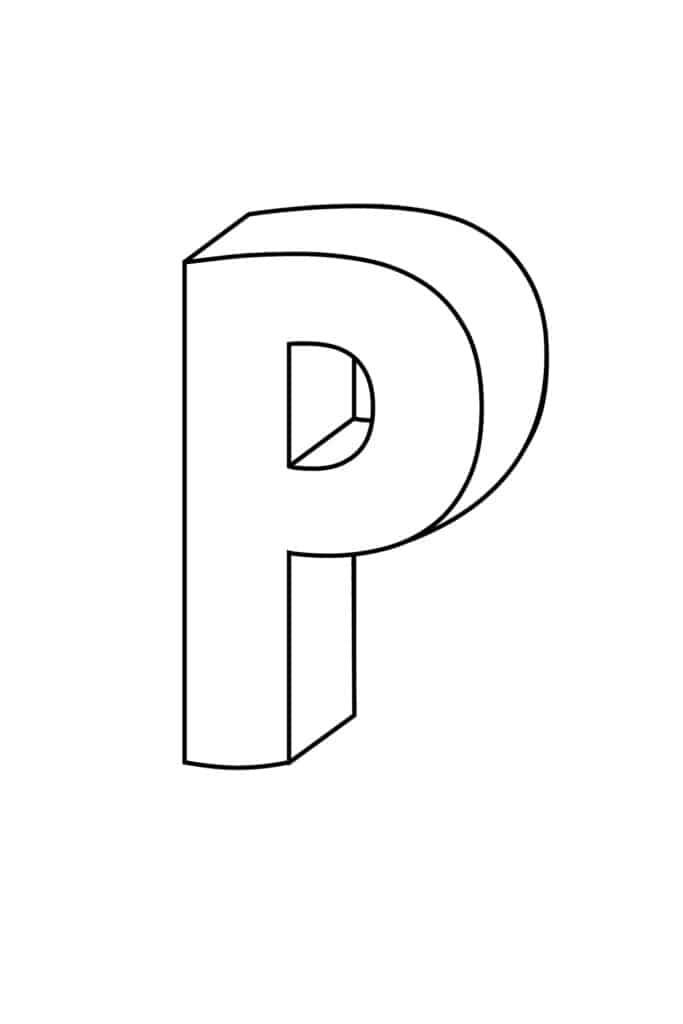 Printable 3D Bubble Letter P