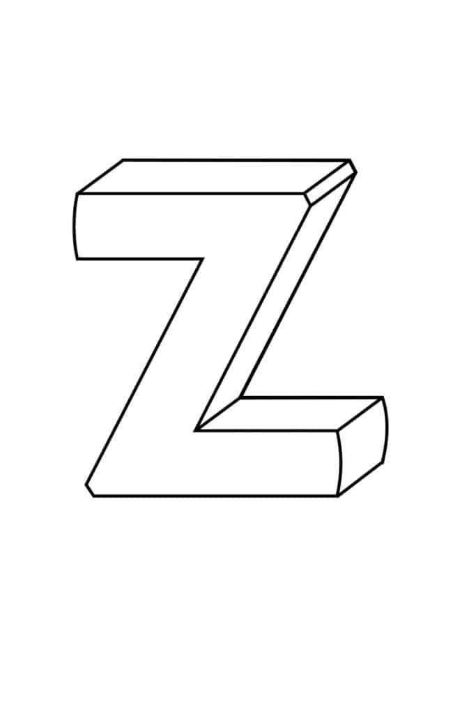 Printable 3D Bubble Letter Z