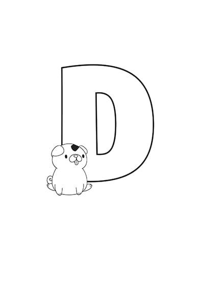 Printable Bubble Letters Cat Dog Letter D