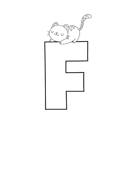 Printable Bubble Letters Cat Dog Letter F