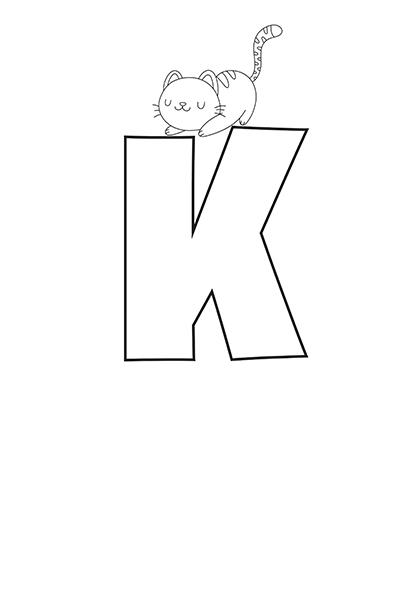Printable Bubble Letters Cat Dog Letter K