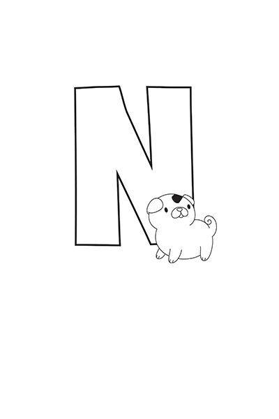Printable Bubble Letters Cat Dog Letter N