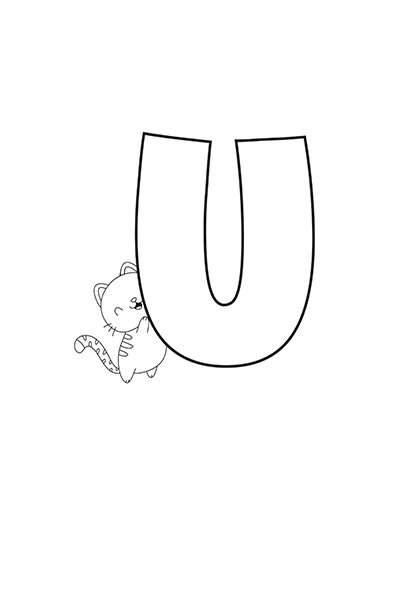 Printable Bubble Letters Cat Dog Letter U