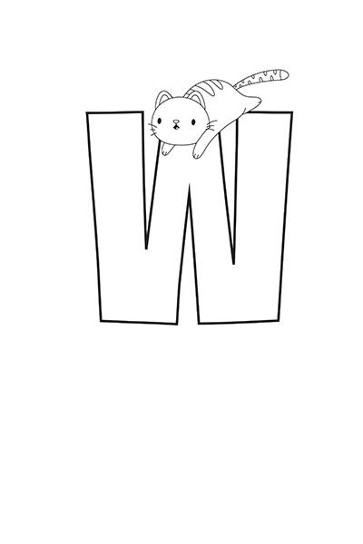 Printable Bubble Letters Cat Dog Letter W