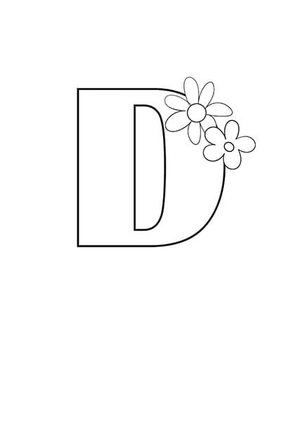 Printable Bubble Letters Flower Letter D
