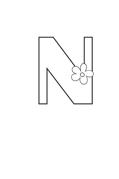 Printable Bubble Letters Flower Letter N
