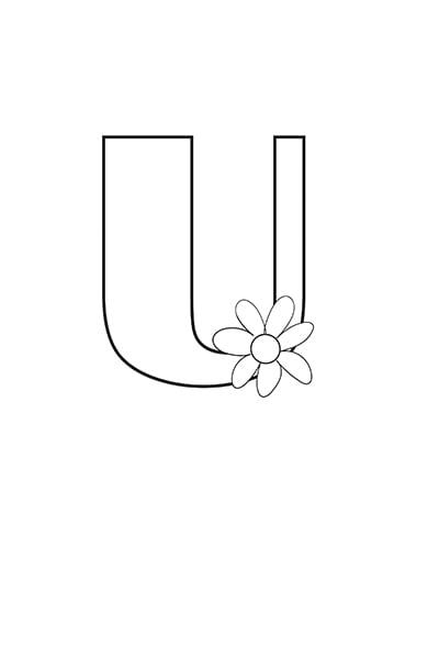 Printable Bubble Letters Flower Letter U