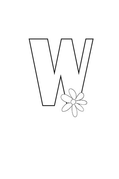 Printable Bubble Letters Flower Letter W