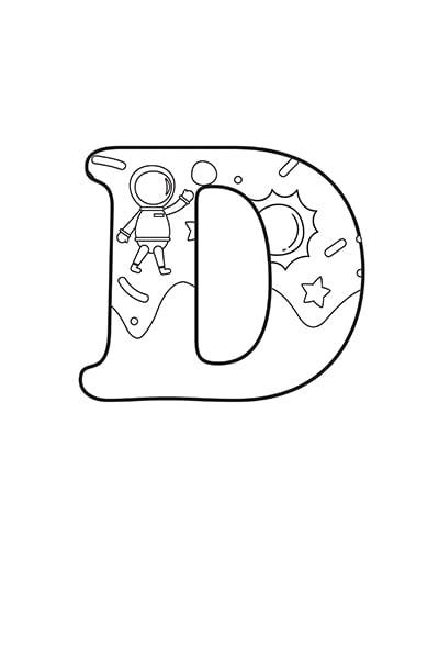 Printable Bubble Letters Outer Space Letter D