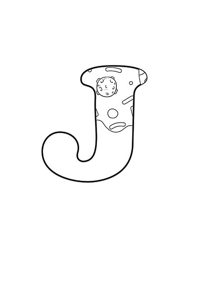 Printable Bubble Letters Outer Space Letter J
