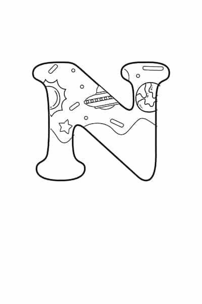 Printable Bubble Letters Outer Space Letter  N
