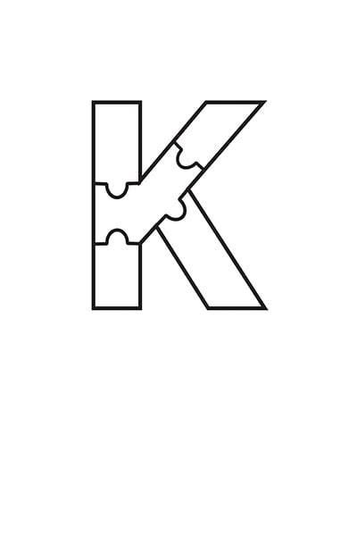 Printable Bubble Letters Puzzle Letter K