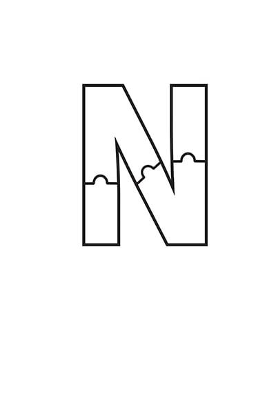 Printable Bubble Letters Puzzle Letter N