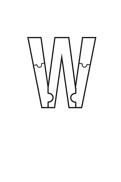 Printable Bubble Letters Puzzle Letter W