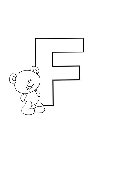 Printable Bubble Letters Teddy Bear Letter F