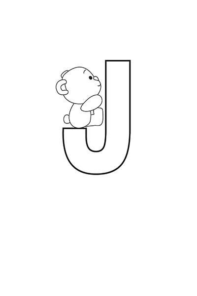 Printable Bubble Letters Teddy Bear Letter J