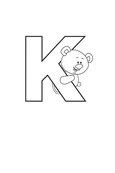 Printable Bubble Letters Teddy Bear Letter K