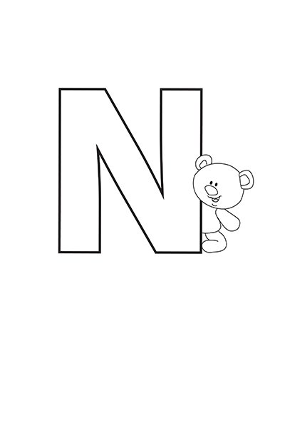 Printable Bubble Letters Teddy Bear Letter N