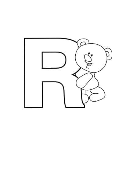 Printable Bubble Letters Teddy Bear Letter R