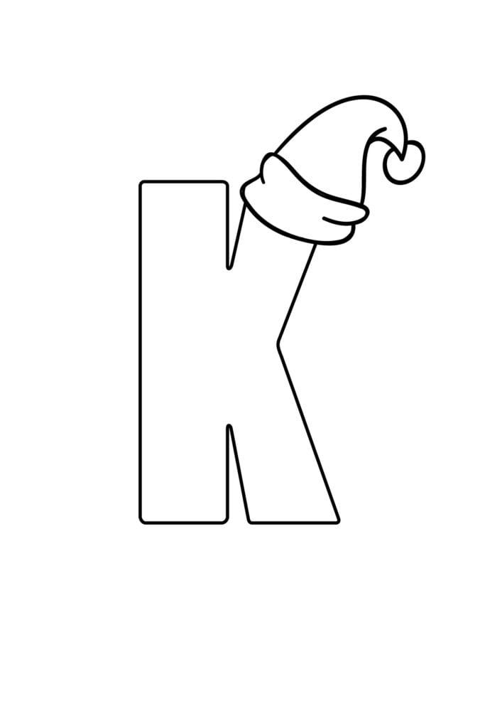 Printable Christmas Bubble Letter K